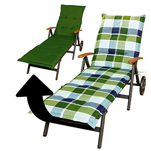 Wende-Auflage für Gartenliege 52 x 204 cm, Dicke 5cm, blau-grün