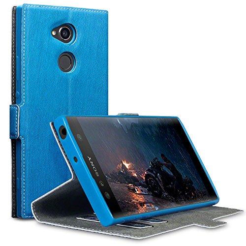 Terrapin, Kompatibel mit Sony Xperia XA2 Ultra Hülle, Leder Tasche Case Hülle im Bookstyle mit Standfunktion Kartenfächer - Hellblau EINWEG