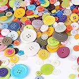 300 Gramme Harz Knöpfe Bastelknöpfe Knopf Bunt Klein mix Rund Kunststoff für DIY Craft Basteln Ornament Handwerk Scrapbooking (zufällig gemischt)