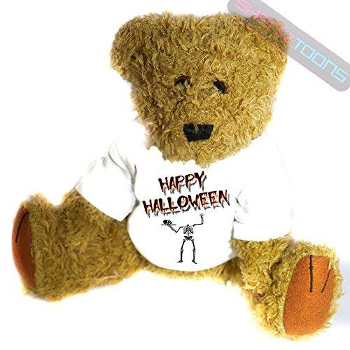 henk Teddy Bär–Scary Skelett Geschenk bedruckt Teddy T Shirt–23cm hoch stehend (Bär Happy Halloween)
