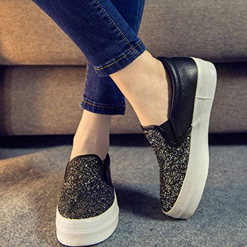 Oasap Women's Fashion Sequin Decoration Slip-Ons Sneakers Multicolored
