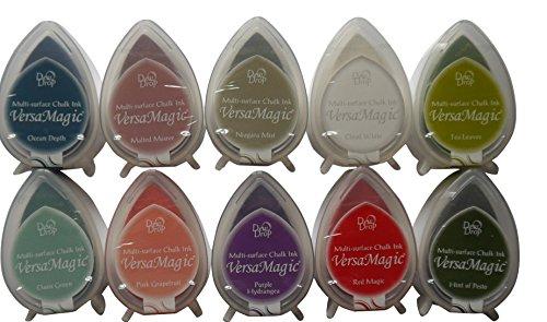 Tsukineko VERSAMAGIC Tautropfen Stempelkissen Set mit 10 verschiedenen Farben auf eine OPTION -