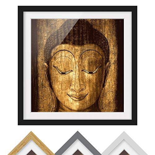 Bild mit Rahmen - Smiling Buddha - Rahmenfarbe Schwarz, 70 x 70 cm