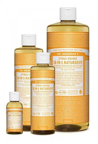 Dr. Bronner´s Naturseife Zitrus-Orange 18-in-1 Magic Soap natürliche Flüssigseife aus biologischem Anbau, vegan, keine Zusatzstoffe, Fair Trade zertifizierte Bioseife (1x475ml)