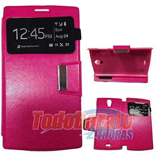 Todobarato24h Funda Libro Ventana Fucsia Orange Nura/Alcatel One Touch M812