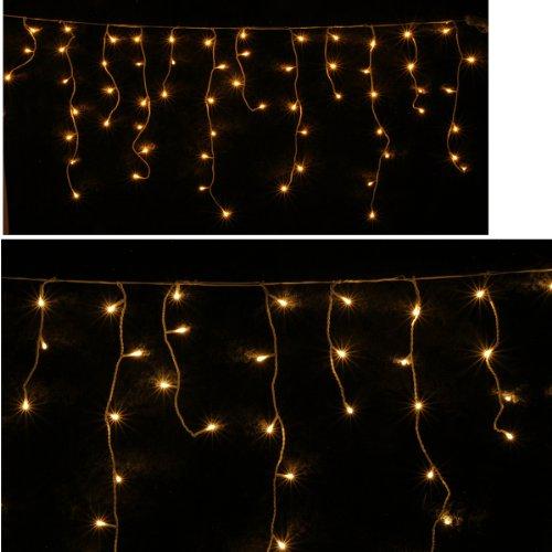 Eisregen-Lichterkette RICE-LIGHTS 100 Lampen- Gesamtlänge 8 Meter -Lichterkette 2 M + 6 Meter Zuleitung Außen - Lichtervorhang Eisregenlichterkette