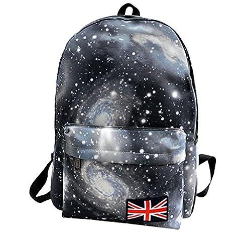 Rcool Unisex Galaxy Muster Reise Rucksack Canvas Freizeit Taschen Schultasche (Schwarz)