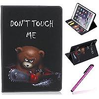 iPad Air 2 (iPad 6, 6th Generation released 2014) Funda,EMAXELERS Synthetic PU Cuero Billetera Iman Dise?o Flip Stand Funda Cover Para Apple iPad Air 2 (iPad 6, 6th Generation released 2014) + 1 Stylus Pen (Angry bear)