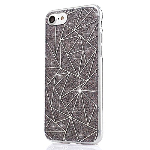Coque Housse Etui pour iPhone 7/iPhone 8, iPhone 7/8 d'or Coque en Silicone Placage Coque Clair Ultra-Mince Etui Housse Glitter Paillette,iPhone 7 Silicone Case Gold Slim Soft Gel Cover with Diamond,  Motif Diamant-Gris Sky