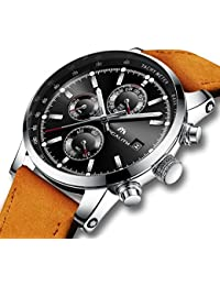 Mens Watches Men Military Waterproof Sport Chronograph Date Calendar Brown Leather Wrist Watch Business Dress Analogue Counts Black Watches for Men
