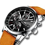 Herren Uhren Männer Wasserdicht Sport Chronograph Datum Kalender Braun Leder Armbanduhr Herren Luxus Kleid Mode Multifunktions Analog Quarz Schwarz Stopuhr