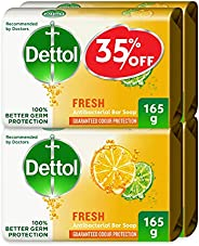 Dettol Fresh Anti-Bacterial Bar Soap 165g Pack Of 4 at 35% Off - Citrus & Orange Blo