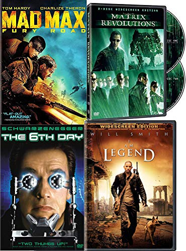 Clone Last Man on Earth DVD Sci-Fi Movie Pack Matrix Revolutions / I Am Legend / The 6th Day & Mad Max Fury Road 4 Movie Set