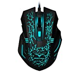 HAVIT 3200DPI Gaming Mouse Wired Optical Mouse with 7 Cycled Breathing Colours LED Lights 4 Adjustable DPI and 6 Buttons (Black)