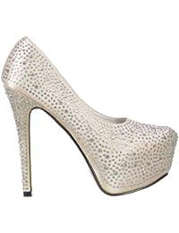 Señoras Mujeres Strass Cristal Tacón Alto Tacón De Aguja - Ocultado Zapatos De Plataforma - Satén Marfil Blanco