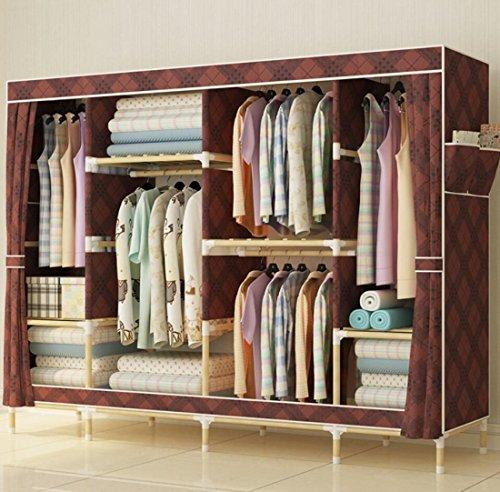 GL&G Kleiderschrank aus massivem Holz Oxford Tuch Free Standing Storage Organizer - Home Dekoration tragbare, abnehmbare, moderne Wirtschaft leichte Kleidung Schrank,A,78'' *67''