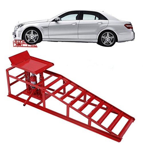 Blackpoolal Auffahrrampe Hydraulisch Laderampe Auffahrbock Hebeplattform Hebebühne Rampen höhenverstellbar Auto PKW Wartungsrampe 2T / 2000kg Tragkraft (Rot)