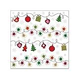 Susy Card 40014609 Weihnachts-Serviette 25x25 cm, tissue bedruckt, 3-lagig, 20er Packung, Motiv: Little Elements Rot/Grün