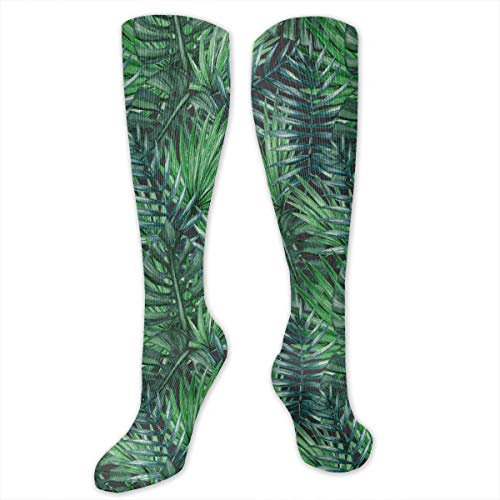 Unisex Highly Elastic Comfortable Knee High Length Tube Socks,Watercolored Old Design Print Of Palm Tropic Exotic Forest Leaves,Compression Socks Boost Stamina,Dark Green And Forest Green -