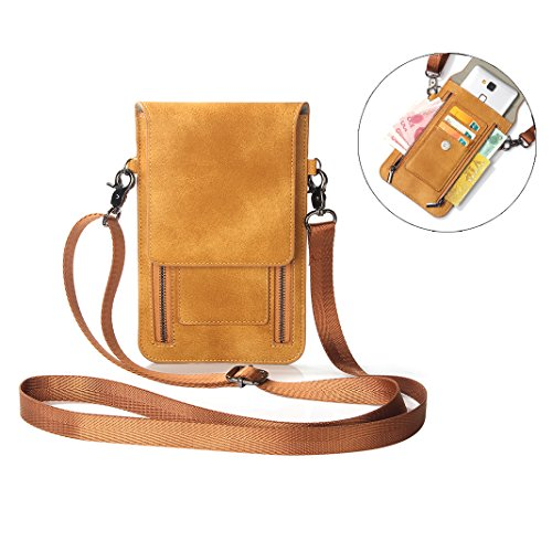 Moon mood Zipper Phone Bag, 6.3 Zoll Doppelter Reißverschluss Karte Cash Crossbody einzelne Messenger Tasche aus PU Leder Handy Paket für iPhone XS/XR, Galaxy S9/S9 Plus, Huawei P20 Lite - Moon-stil-handtasche