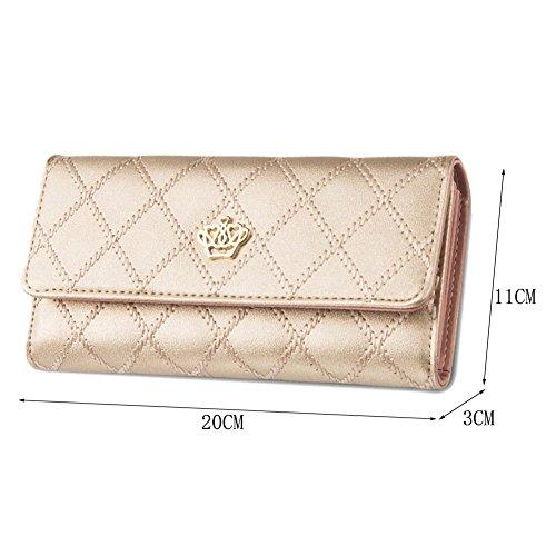 Donna Elegante Portafoglio in Finta Pelle Portamonete e Porta Carte di Credito per Frizione Pink