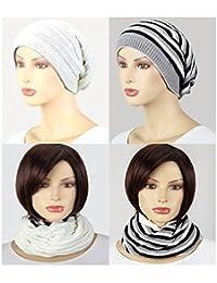 Winter Stoff Beanie gestreift uni Streifen 2 in 1 Schal und Mütze multifunktional schwarz weiss