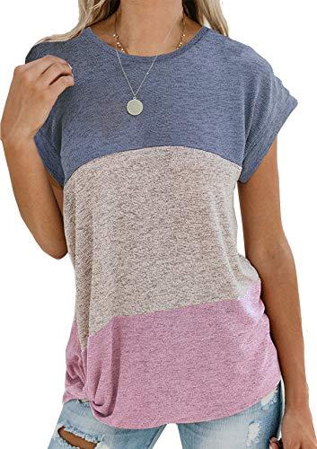 Yidarton Damen Kurzarm T-Shirt Casual Patchwork Sommer Lose Shirt Asymmetrisch Oversize Oberteile -