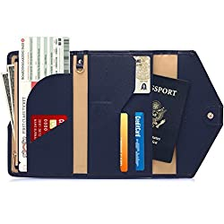 Rfid Blocking Passport Wallet, Teoyall Travel Pu Leather Long Trifold Wallet Document Organizer Holder Cover (Blue)