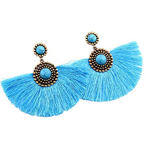 UINGKID Damen Ohrringe Mode Ohrstecker Kreative Türkis geometrische lange Quaste Anhänger Schmuck