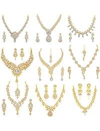 Sukkhi Eye Catching Gold Plated Austrian Diamond Set of 9 Necklace Set Combo Jewellery for Women