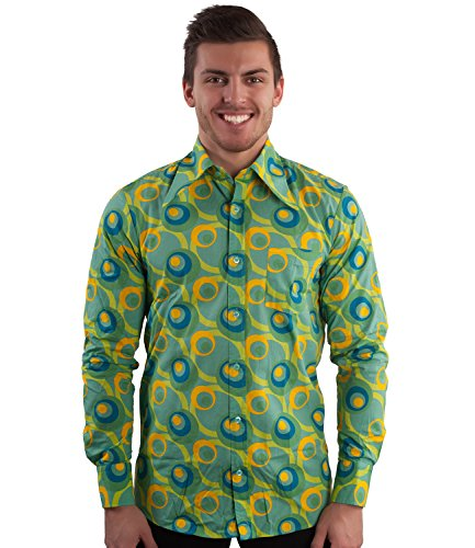 70er Jahre Party Hemd Dots grün Mehrfarbig