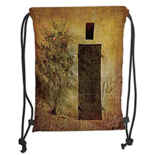WTZYXS Drawstring Sack Backpacks Bags,Rustic Decor,Historical Artistic Italian Door of Stone House Mediterranean Picturesque Heritage Photo,Cream Brown Soft Satin,5 Liter Capacity. Heritage House