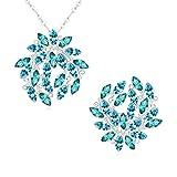 Aooaz Femmes Alliage Bijoux Parures Feuille Branche Cristal Broche Pendentif Collier Anniversaire Cadeau Promesse Engagement Bleu Marine
