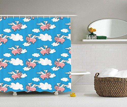GAOFENFFR Schwein-Dekor-Sammlung Fliegen-Schwein-Zeichentrickfilm-Figuren mit Flügeln, zum des Sprichworts darzustellen Großes Kind bewölkt Bild-Gewebe-Badezimmer-Duschvorhang-blauen weißen Lachs -