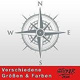 KOMPASS Windrose Aufkleber Wandtattoo Wandaufkleber Sticker (20 (B) x 20 (H) cm, Grau)