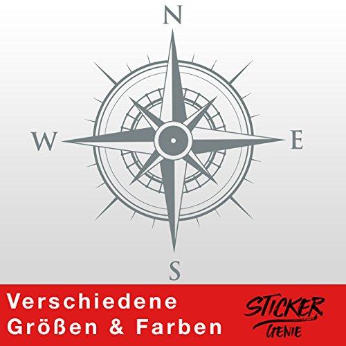 KOMPASS Windrose Aufkleber Wandtattoo Wandaufkleber Sticker (40 (B) x 40 (H) cm, Grau) (Kompass-folie)