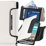 numia LG Optimus L5 II Hülle, Handyhülle Handy Schutzhülle [Book-Style Handytasche mit Standfunktion und Kartenfach] Pu Leder Tasche für LG Optimus L5 2 II E460 Case Cover [Weiss-Schwarz]