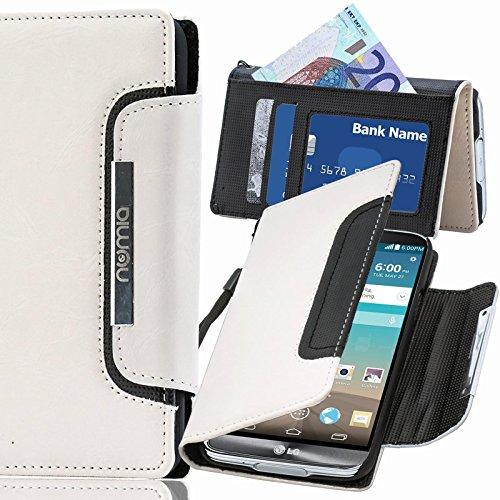 Numia - Custodia a libro per LG P880 Optimus 4X HD , con chiusura magnetica e cordino per il trasporto, colore: Nero/Bianco