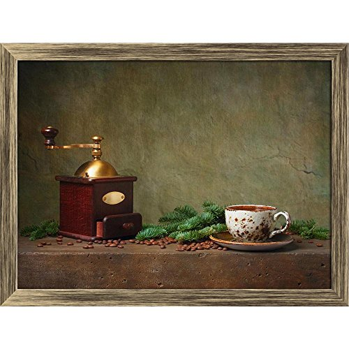 ArtzFolio Photo of Still Life with Cup of Coffee & Grinder Canvas Painting Antique Gold Wood Frame 21.2 X 16Inch Gold Coffee Grinder