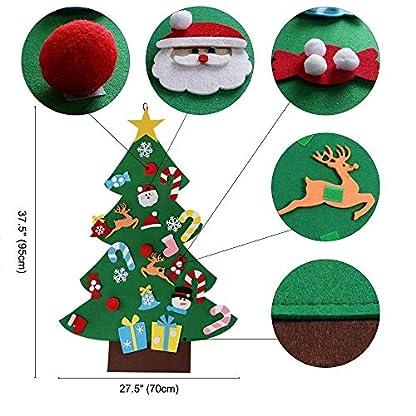 TATAFUN Árbol de Navidad del Fieltro de los 3.2FT DIY fijó + los Ornamentos Desmontables 26pcs, Regalos Colgantes de Navidad de la Pared para Las Decoraciones de la Navidad