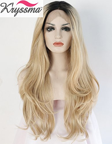 K'ryssma Natural Looking Ombre Blonde Wavy Dark Roots Long Synthetic Hair Lace Front Wigs for Women Heat OK Half Hand Tied Wig 24 Inches