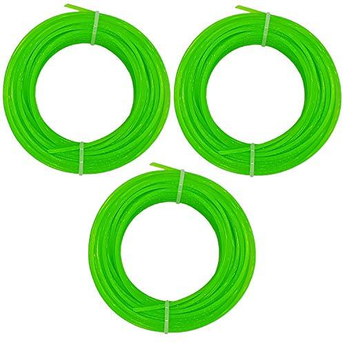 3 Rollen Rasentrimmerschnur 2 mm PVC, Kunststoff Rasen Trimmer Schnur Faden, 15m (LHS)