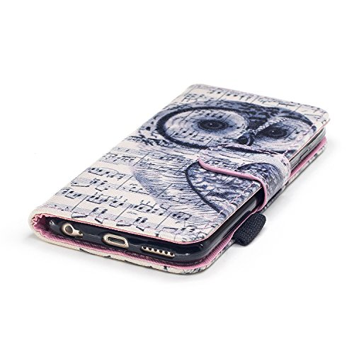 Custodia iPhone 6, iPhone 6S Cover Wallet, SainCat Custodia in Pelle Flip Cover per iPhone 6/6S, Ultra Sottile Anti-Scratch Book Style Custodia Morbida Cover Protettiva Caso PU Leather Custodia Libret Nota Gufo