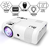 "DR.J 2400Lumens Mini Projector Max. 170"" Display, Full HD LCD Projector Compatible With HDMI/VGA/USB/TF/AV/Sound Bar/PS4/WII/XBOX/TV/FireTV Stick/TV Box/Laptop [3 Years Warranty] (L8 Projector)"