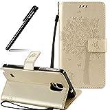 BtDuck Galaxy Note 4 Hülle, Elegant Hülle Leder Tasche Katzen und Baum Muster Stand Flip Cover Case mit Lanyard Briefcase mit Standfunktion Magnetverschluss Handyhülle für Samsung Galaxy Note 4 Gold