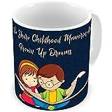 Illuminati Gifts Together We Share Memories & Dreams Beautiful Design Quote Printed Multicolor Ceramic Coffee Mug - 325 Ml, Gift For Brother/Sister On Rakshabandhan, Birthday, Anniversary, Fesitvals