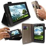 iTALKonline Asus FonePad (7 inch tablet) Negro Soporte y Tipo de PU Cuero Ejecutivo de múltiples funciones Monedero Organizador caja cubierta del tirón con construido en Typing soporte