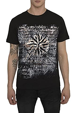 Mens Designer Metallic Fashion White, Black Tee Shirts Rock Band Style Prints – NAUTICAL STAR - Exceptional Quality 100 % Cotton Jersey T Shirt - Crew Neck Short Sleeve Trendy Gold, Silver Tops For Men