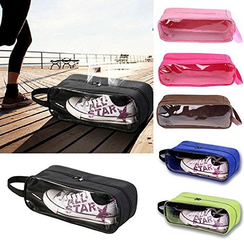 Reise Schuhbeutel Set von GOOTRADES, aus 2 Wasserdichtem Nylon mit Reißverschluss für Herren & Damen (Braun / Rosarot) Schwarz / Grün