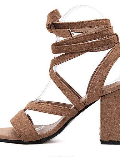 UWSZZ IL Sandali eleganti comfort Scarpe Donna-Sandali-Formale-Tacchi / Plateau / Aperta-Quadrato-Felpato-Nero / Marrone Black